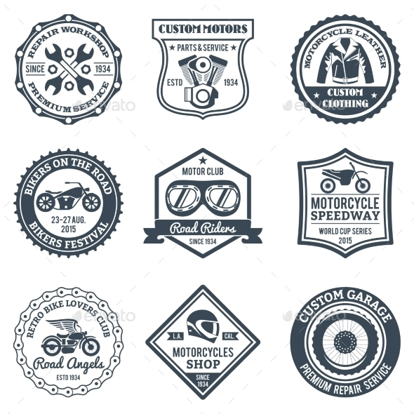 Motorcycle Labels Black - Miscellaneous Vectors