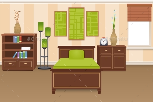 Bedroom Interior Concept - Miscellaneous Vectors