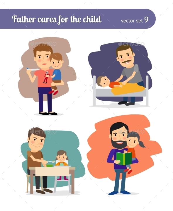Father Cares For The Child - People Characters