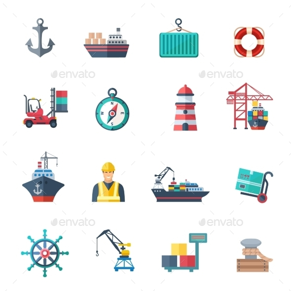 Sea Port Icons Set - Miscellaneous Vectors