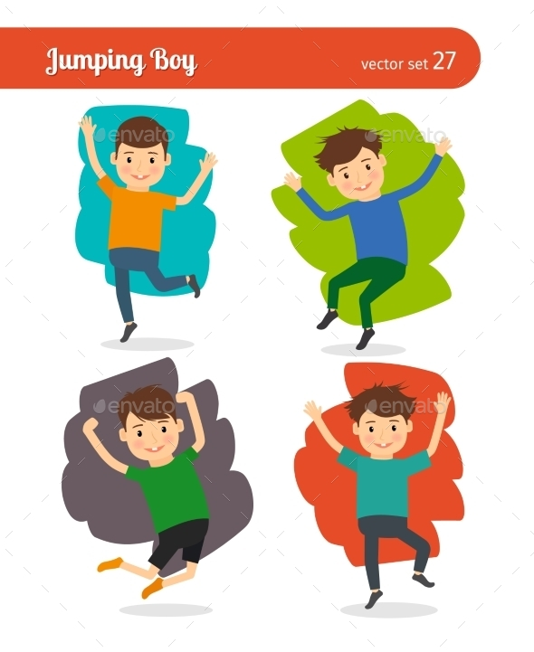 Jumping Boy Character - People Characters