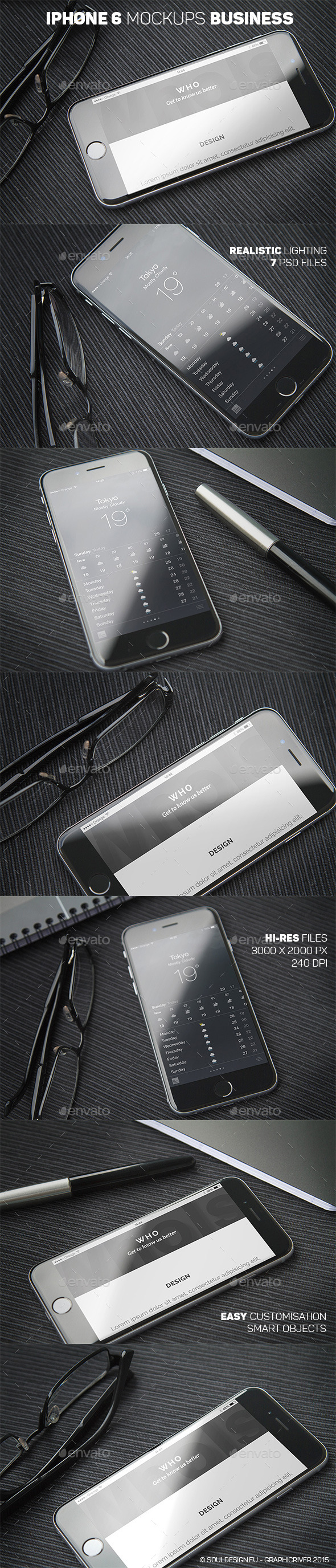 iPhone 6 Closeup Mockups Business - Mobile Displays