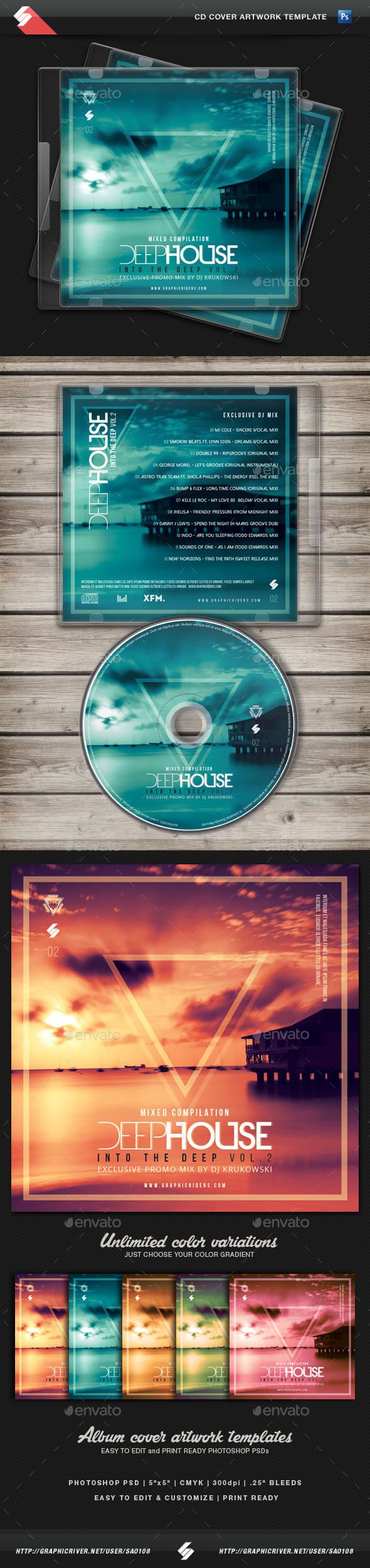 Deep House Mix 2 - CD Cover Artwork Template - CD & DVD Artwork Print Templates