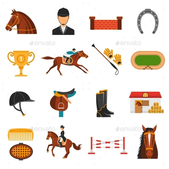 Flat Color Icons Set With Horse Equipment  - Animals Characters