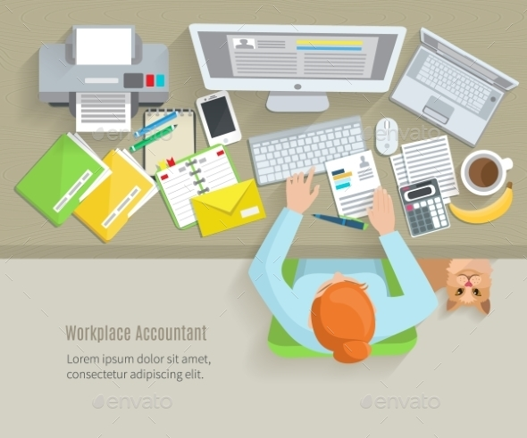 Accounter Workplace Flat - Miscellaneous Vectors
