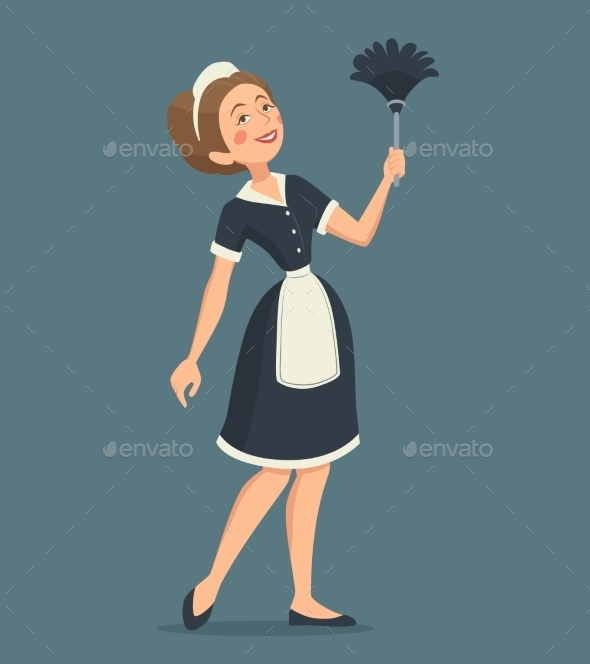 Smiling Cleaning Woman Illustration  - People Characters