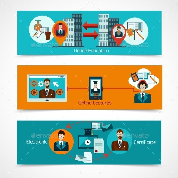 Online Education Banner Set - Technology Conceptual