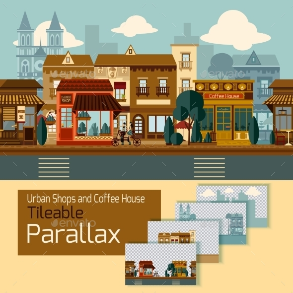 Shops Tileable Parallax - Buildings Objects