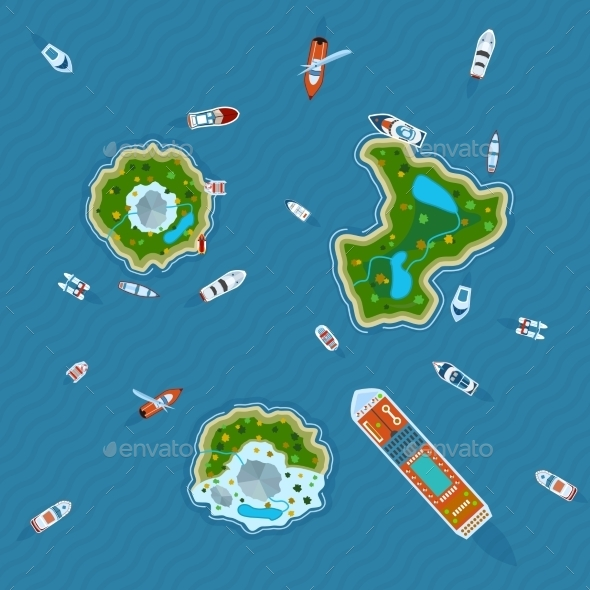 Ships Around Islands Top View   - Miscellaneous Conceptual