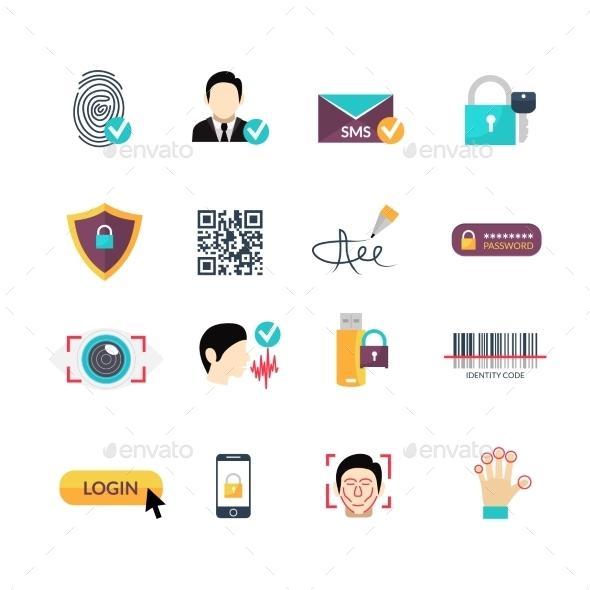 Verification Secure Methods Flat Icons Set - Technology Icons