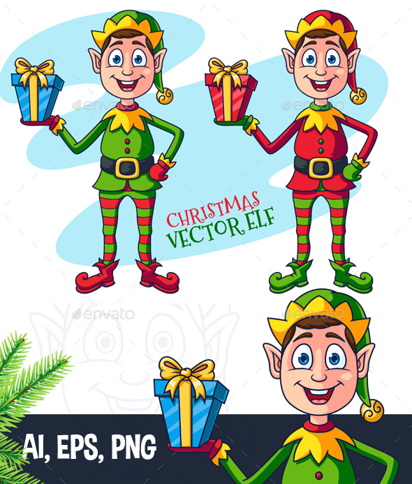 Cartoon Christmas Elf Character - People Characters