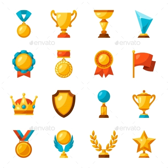 Sport Or Business Trophy Award Icons Set - Sports/Activity Conceptual