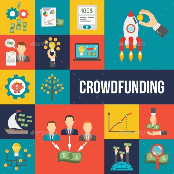 Crowdfunding Flat Set - Business Conceptual