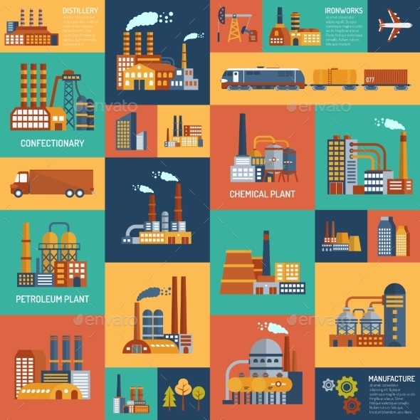 Icons Set With Different Types Of  Industrial - Industries Business