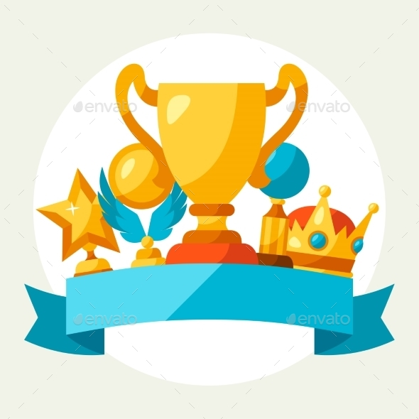 Sport Or Business Background With Award And Trophy - Sports/Activity Conceptual