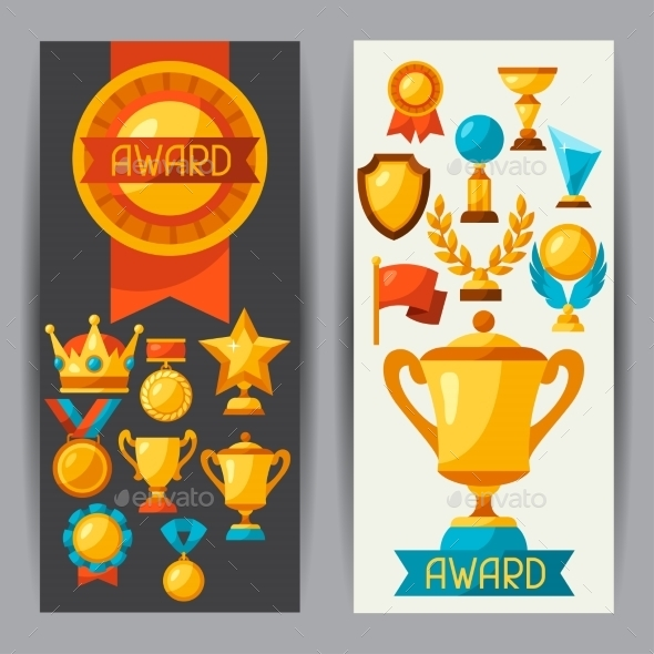Sport Or Business Banners With Award Icons - Concepts Business