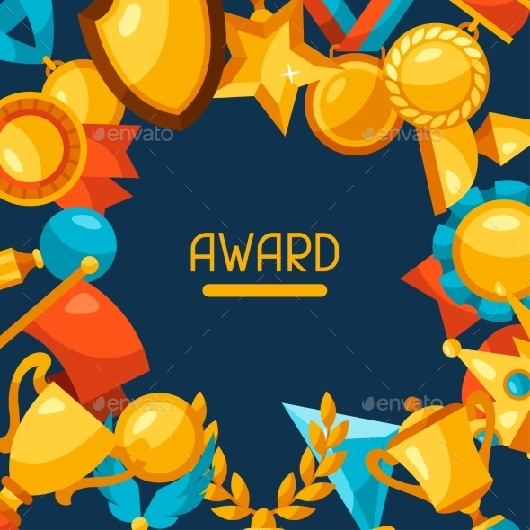 Sport Or Business Background With Award Icons - Sports/Activity Conceptual