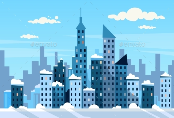 Winter City Skyscraper View Cityscape Snow Skyline - Buildings Objects