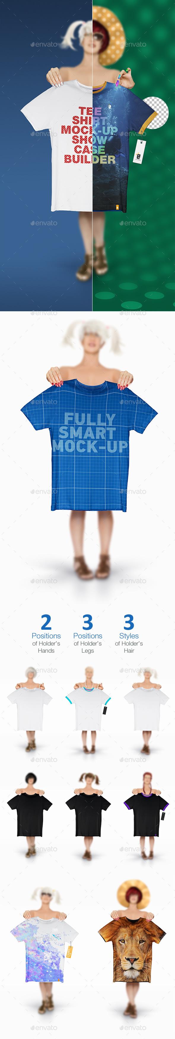 T-Shirt Mock-Up Showcase Builder Set 01 Girl - T-shirts Apparel