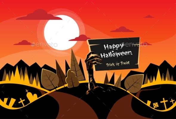 Zombie Hand Hold Board, Orange Autumn Woods - Halloween Seasons/Holidays