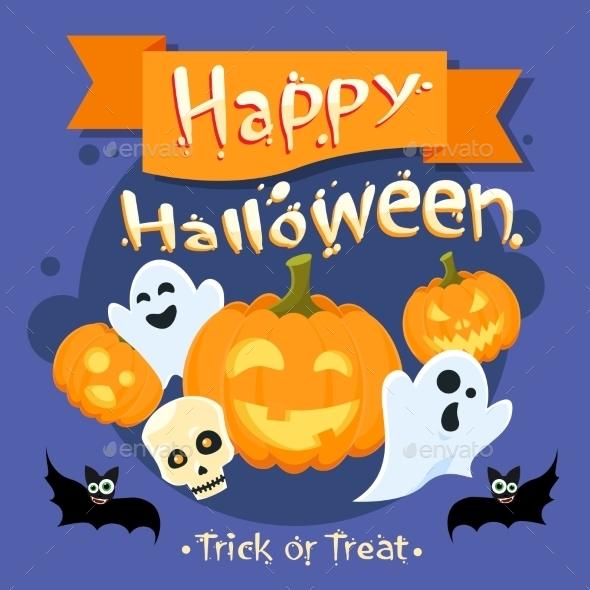 Happy Halloween Banner Invitation Card Ghost - Halloween Seasons/Holidays