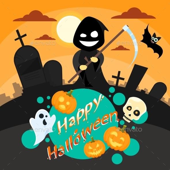 Halloween Cartoon Grim Reaper Smile Hold Scythe - Halloween Seasons/Holidays