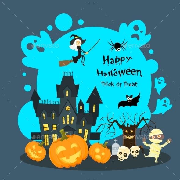 Halloween House Ghost Pumpkin Face Party - Halloween Seasons/Holidays