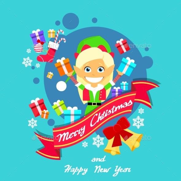 Merry Christmas Elf Female Poster Santa Helper - Seasons Nature