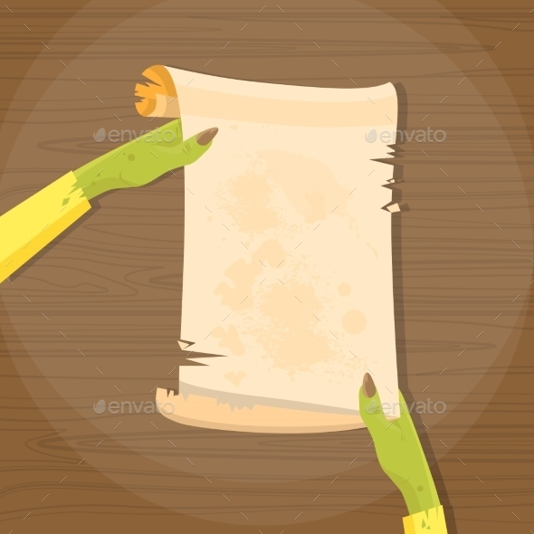 Zombie Hand Hold Ancient Manuscript Scroll Paper - Halloween Seasons/Holidays