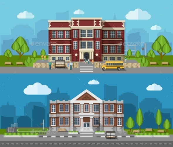 School Flat Banner - Buildings Objects
