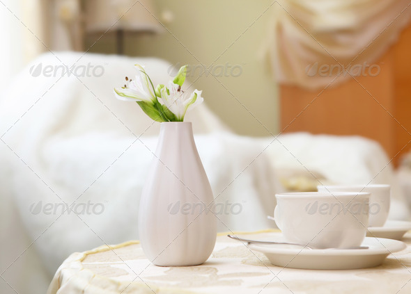 tea cup on a table - Stock Photo - Images