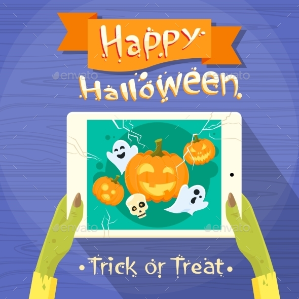 Zombie Hand Hold Tablet Computer Flat Vector - Halloween Seasons/Holidays