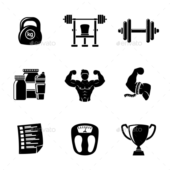 Set Of Bodybuilding Icons With - Dumbbell, Weight - Icons