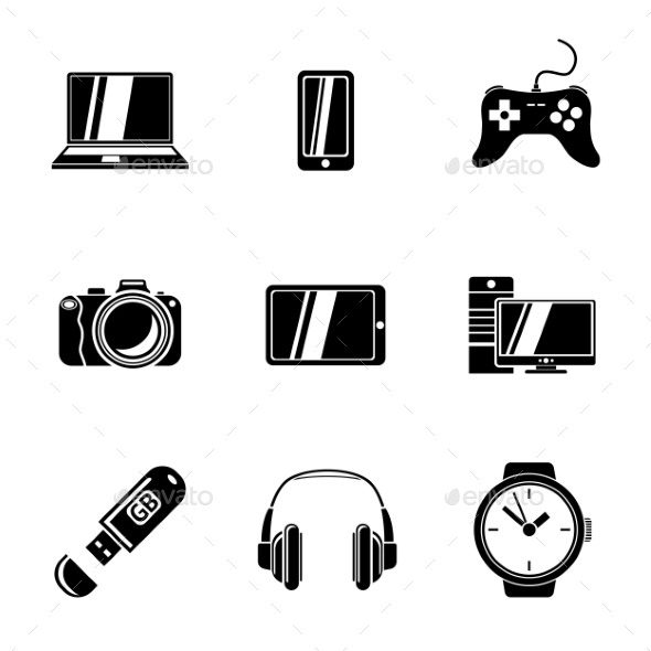 Set Of GADGET Icons With - Notebook, Phone - Icons
