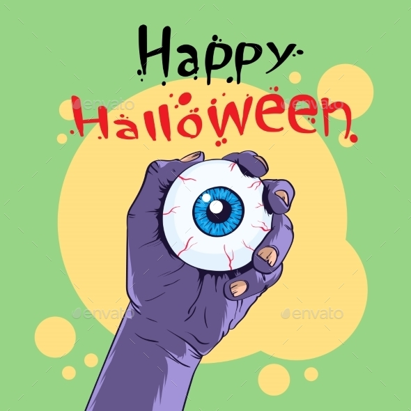 Zombie Hand Hold Eye Halloween Banner - Halloween Seasons/Holidays