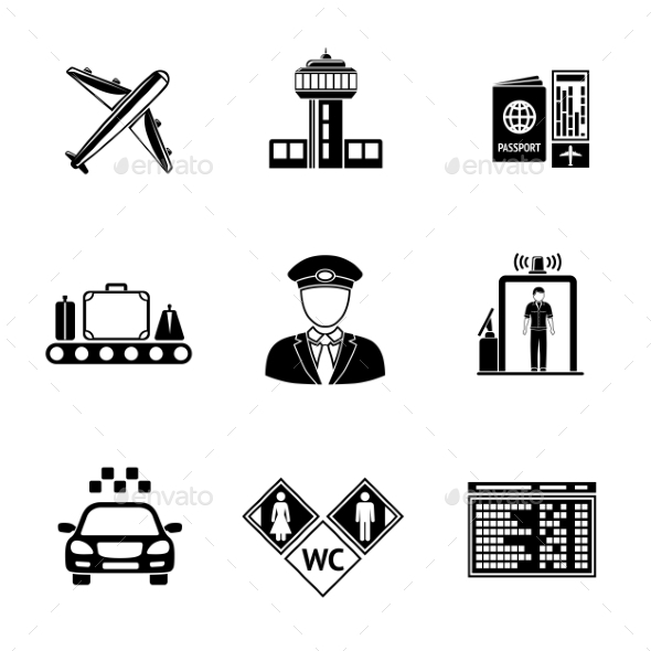 Set Of AIRPORT Icons - Airplane, Airport, Passport - Icons