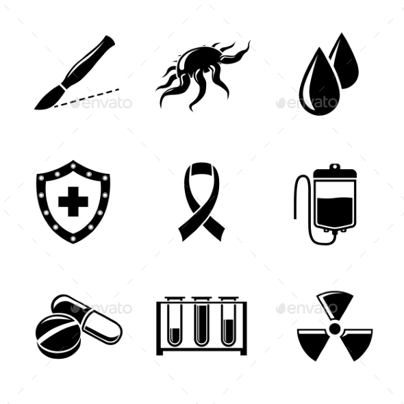 Set Of Cancer Icons With - Shield, Virus Cell - Icons