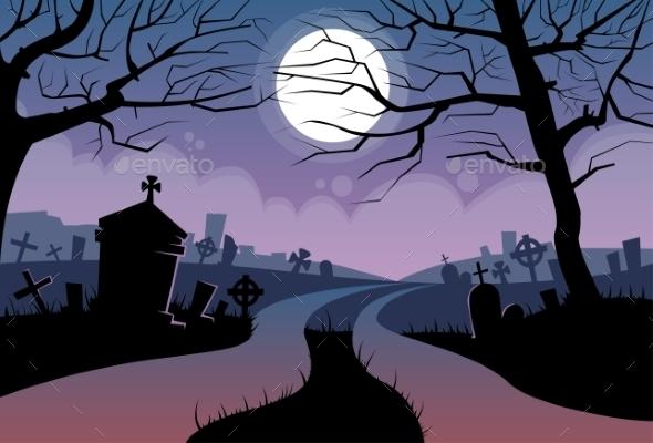 Cemetery Banner Graveyard - Halloween Seasons/Holidays