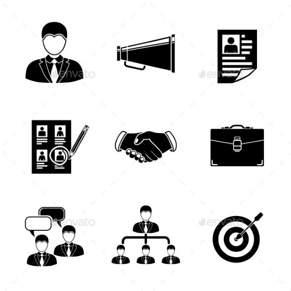 Set Of Head Hunter Icons - Handshake, Resume - Icons