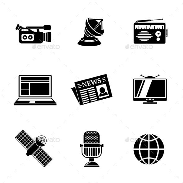 Set Of Media Icons - News, Radio, Tv, Internet - Icons