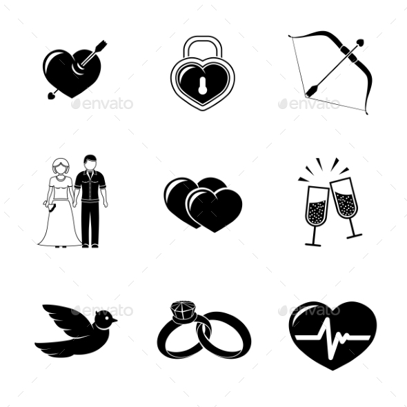 Set Of Love, Amour Icons - Heart With Arrow, Two - Icons