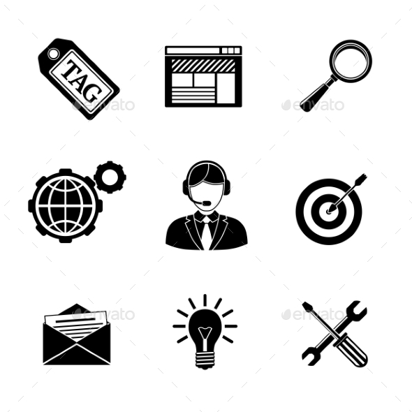 Set Of SEO Icons - Target With Arrow, Tag, World - Icons