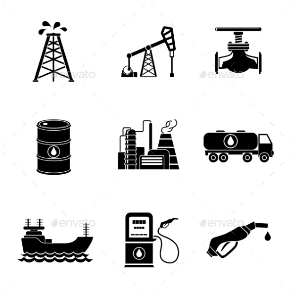 Set Of Oil Icons - Barrel, Gas Station, Rigs - Icons
