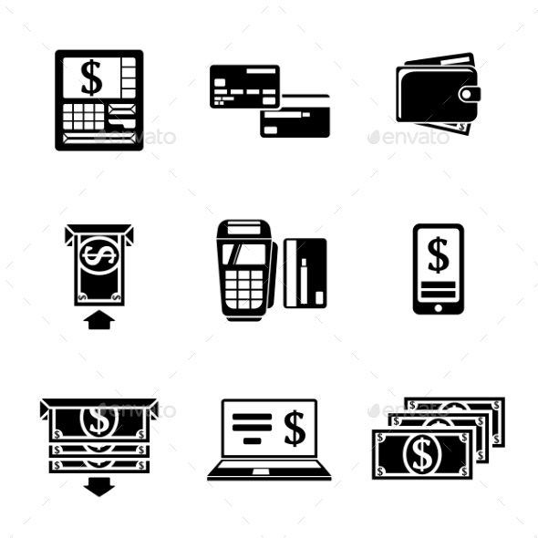 Set Of ATM Monochrome Icons With - ATM, Cards - Icons