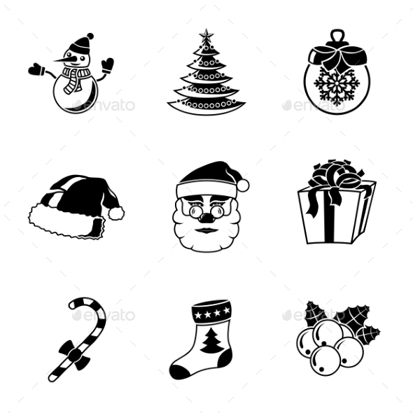 Set Of CHRISTMAS Icons - Snowman, Tree, Sock, Hat - Icons