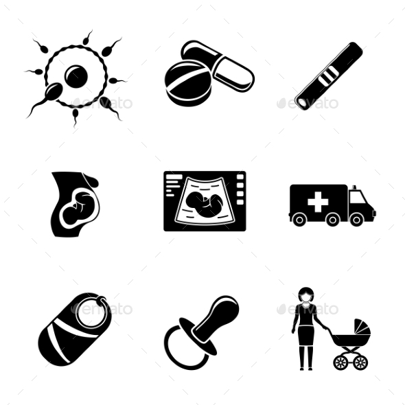 Set Of PREGNANCY Icons With - Egg And Sperm, Pills - Icons