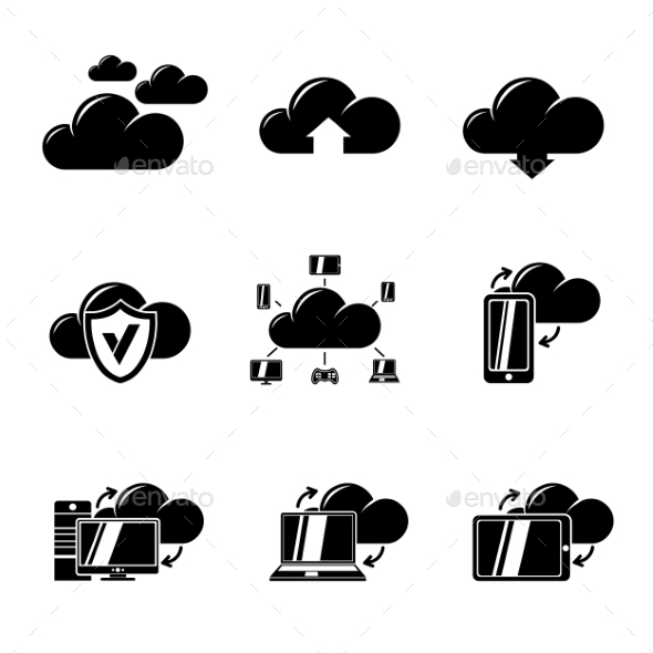 Set Of Cloud Computing Icons. Vector - Icons
