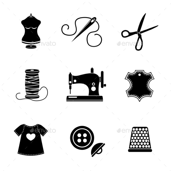 Set Of Sewing Icons - Machine, Scissors, Thread - Icons