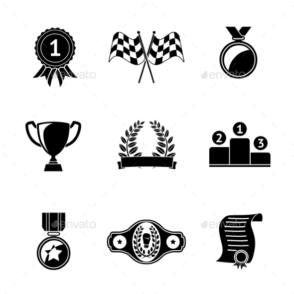 Set Of Winners Icons - Goblet, Medal, Wreath, Race - Icons