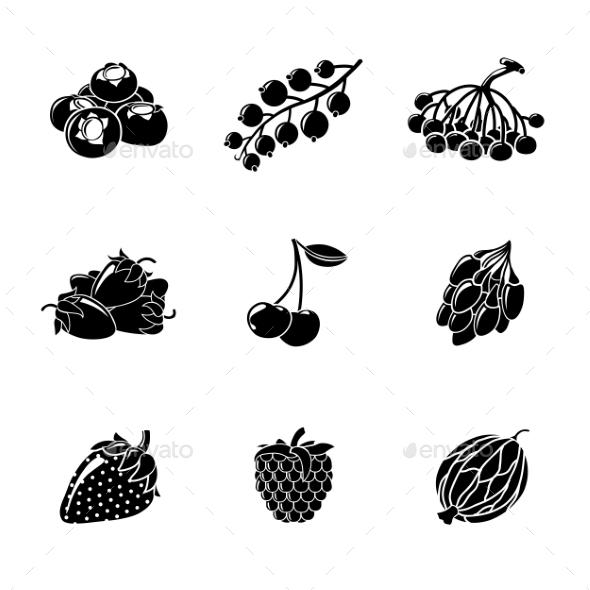 Set Of Monochrome BERRIES Icons - Cherry - Icons